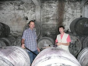 Emmanuel and Françoise Reynaud in the cellar
