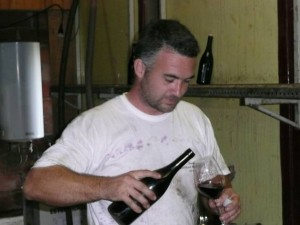 Nicolas Rossignol sampling his wine