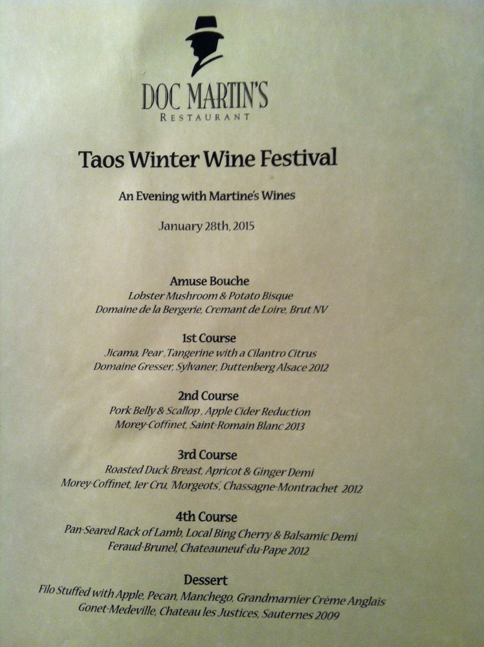 dinner menu at doc martins