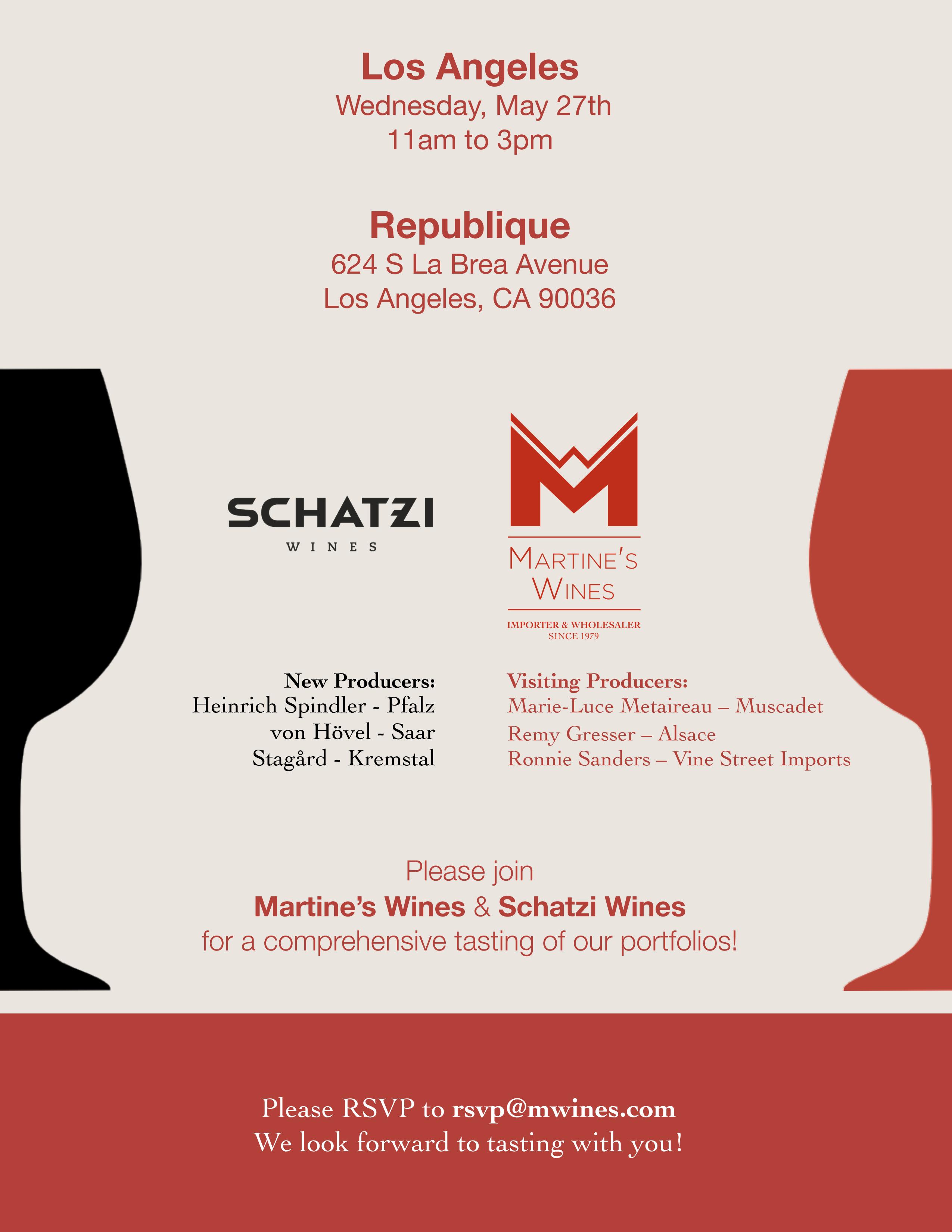 Martine's Schatzi Wines LA Tasting Invite 2015